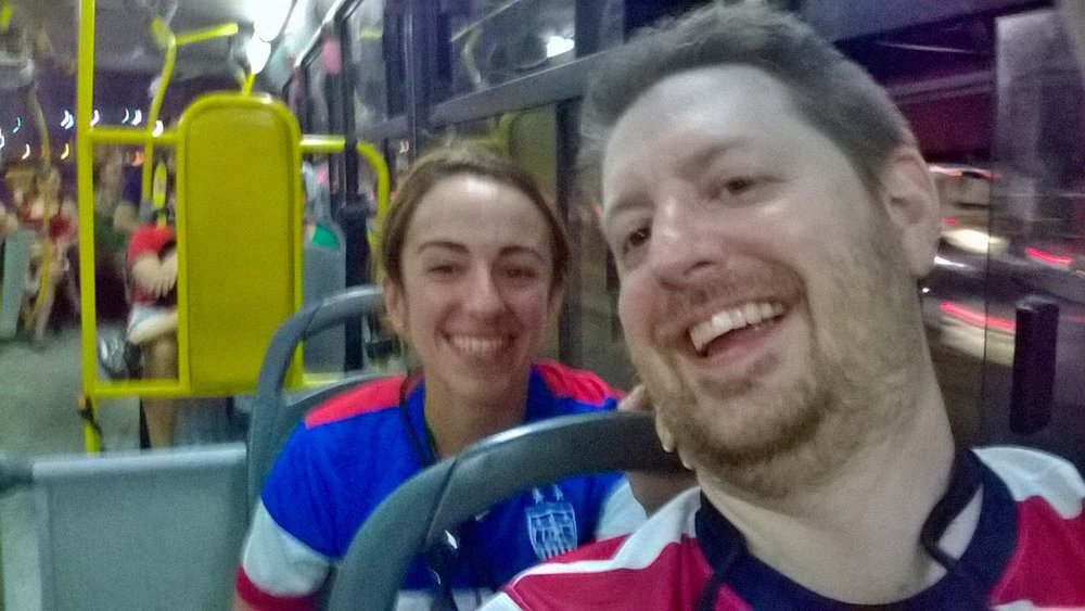 We're on the Onibus post-match trying to return to our Manaus base of operations
