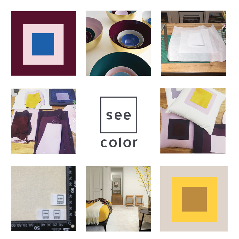 - See Color is debuting with a collection of color block pillows. The square pillows are 18