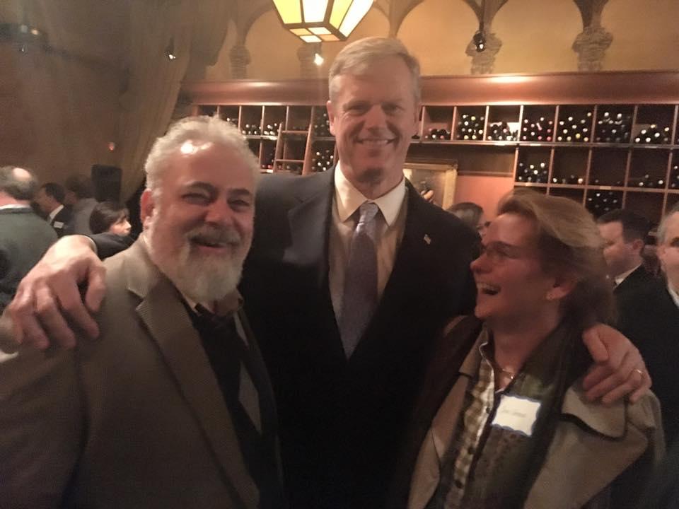 Dr. Shrand, Governor Baker and Carol Shrand, CEO.