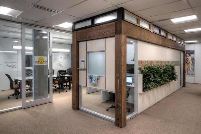 Timber - An innovative structural wood solution that blends traditional craftsmanship with the speed, customization and flexibility of DIRTT's modern manufacturing. The structures deliver free-standing, multi-level solutions for the structures or high-ceiling spaces such as trade shows, factories and warehouses as well as architecturally inspired commercial office interiors.