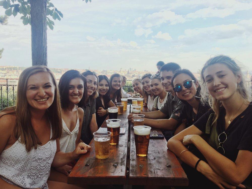 Post-orientation beer garden hangs   Riegrovy Sady
