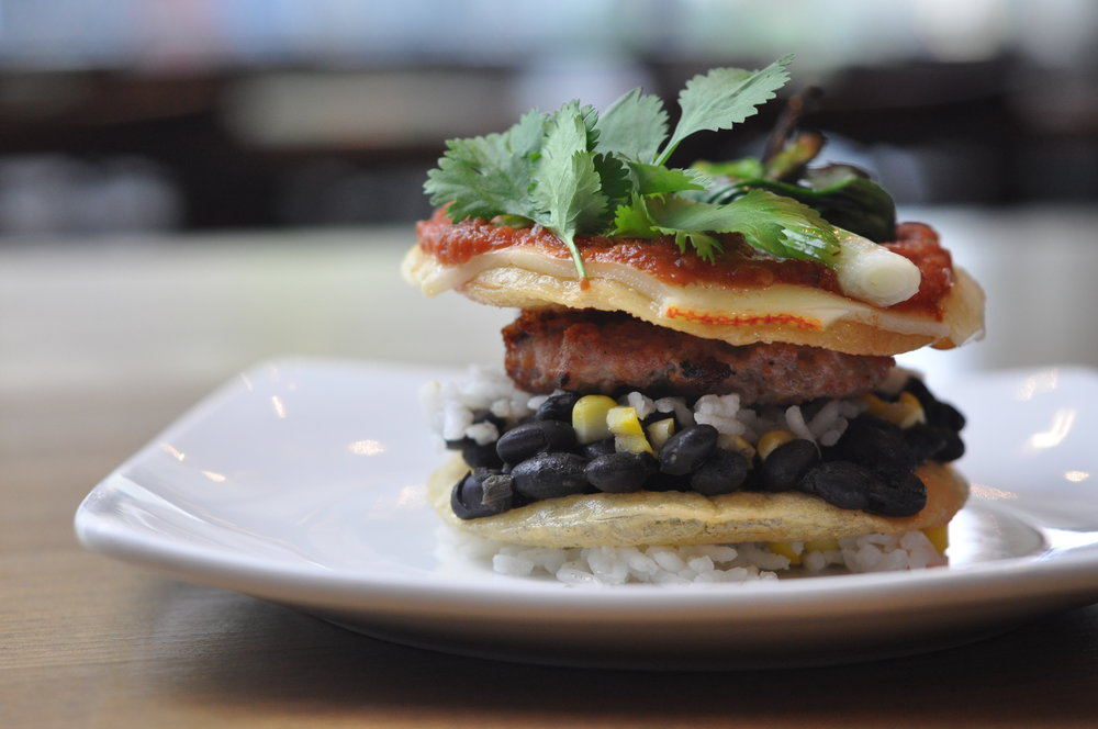 Caymus Wine Dinner Course #2, Fennel Sausage Huevos Ranchero Stack