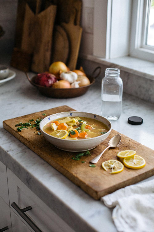 Lemon Pepper Pappardelle Chicken Soup | Heather Bullard