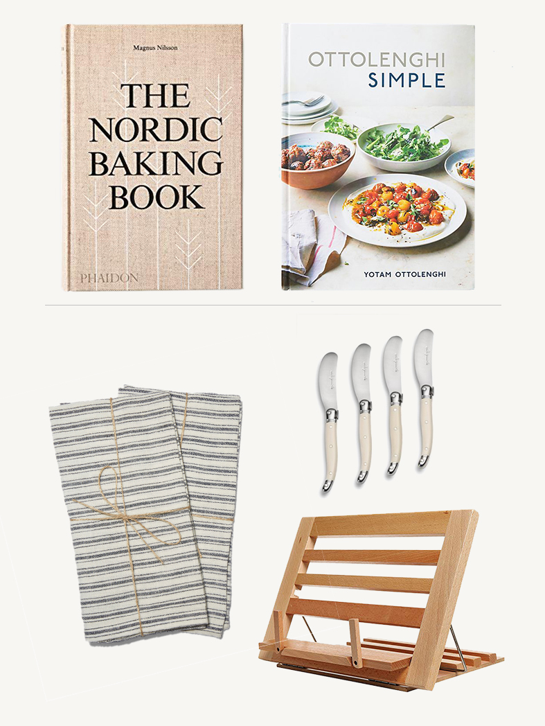 BEAUTIFUL COOKBOOK - The Nordic Baking Book - A comprehensive guide to Nordic home baking from the award winning chef, Magnus Nilsson.Ottolenghi Simple - Everything Ottolenghi does is magic in the kitchen. His veggie centered books should be staples for the home cook - the recipes are simply delicious!PAIR WITH:Belgian Linen Kitchen Towels - Beautiful natural linen towels get softer with age while still looking pretty on the counter.French Spreaders - I use these exact knives every day and have given a boxed set countless times to friends. Love them!Cookbook + iPad Stand - I'm constantly looking for a way to prop up my iPad or cookbook while I'm in the kitchen and this foldable stand would be a great solution. Plus, it would store easily in a cabinet when not in use.