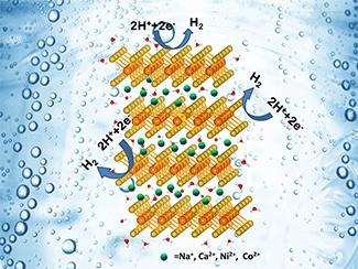 The layered structure of MoS2 is retained upon inserting the metal ions into the regions between the sheets. Adding these ions helps enhance the reduction of hydrogen ions on the surface of the MoS2 catalyst. Image courtesy of  Nuwan Attanayake , Temple University