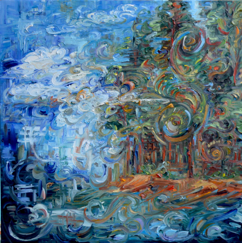 """Keep Me in a Daydream,"" 30"" x 30"", oil on canvas - included in ""Out & About"" at Sewell Mill"
