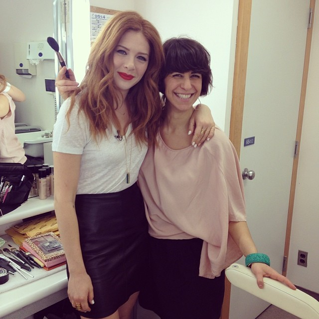 BTS at Strombo with my favourite redhead, Canadian actress Rachelle Lefevre.