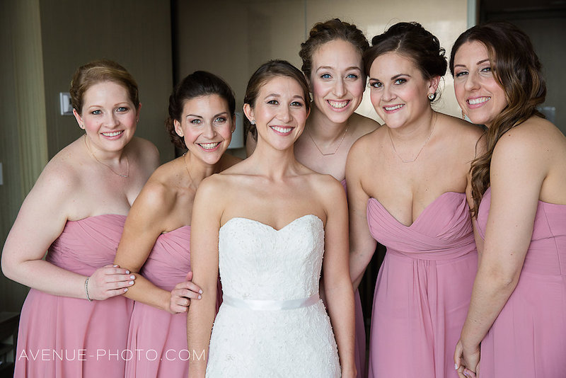 Amy and her beautiful bridal party. photo courtesy of Avenue Photo. On location at the Four Seasons Hotel, Toronto. Bride and bridal party makeup by Maya Goldenberg.