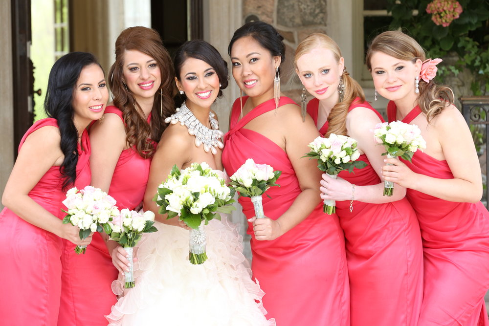 Khrystyna and her gorgeous bridal party. Photo courtesy of Michelle Quance. All makeup by Maya Goldenberg.