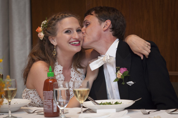 You may kiss the bride!! Jane L. and Brian! Bride's hair and makeup by Maya Goldenberg.