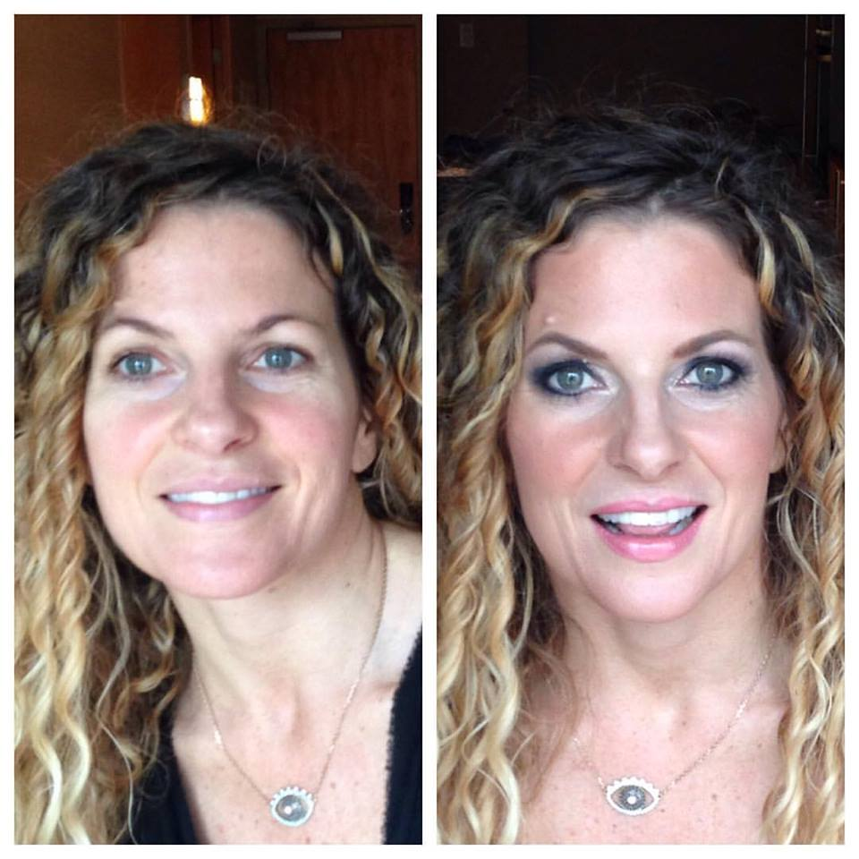 Before and after photo #BTS with Stephanie, seen here rocking a smokey eye for her friends' wedding. Makeup by Maya Goldenberg.