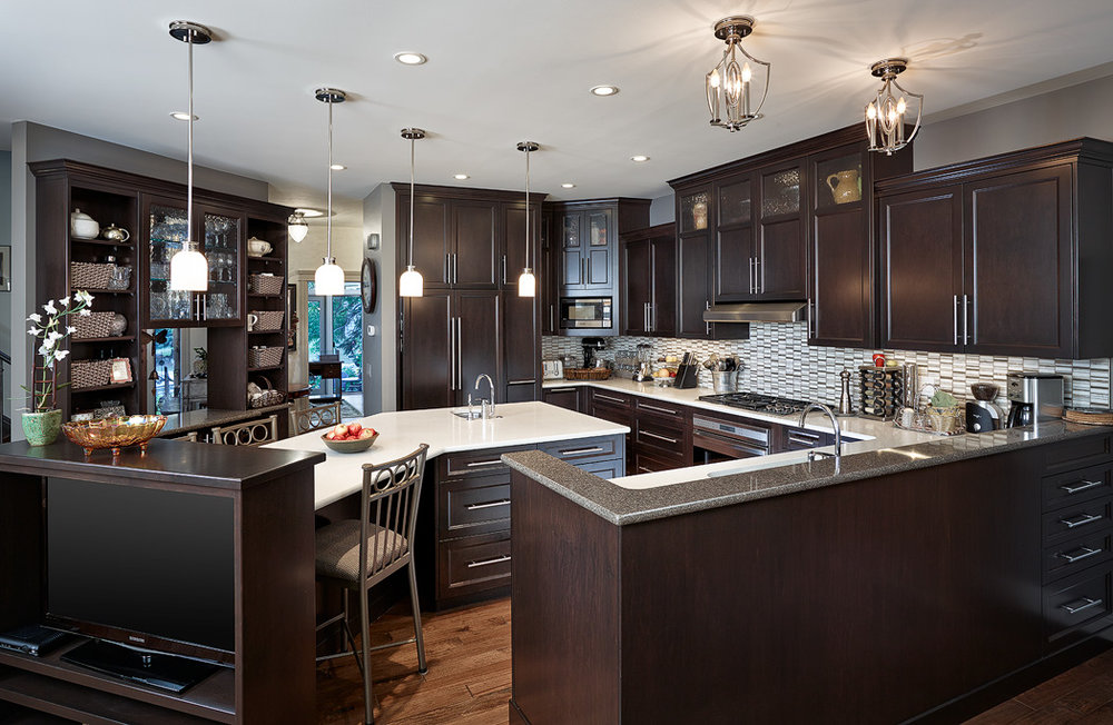 The kitchen of our Custom Home Build in the Calgary community Varsity Estates