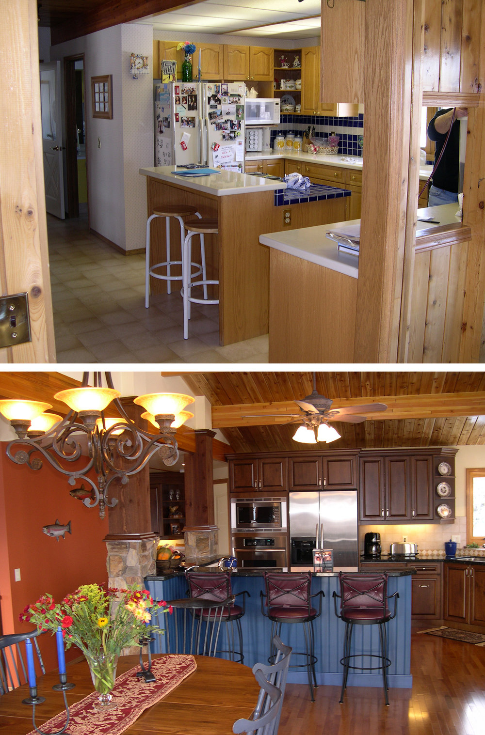 Before & After of a Kitchen Renovation in the Calgary community of Bearspaw Meadows