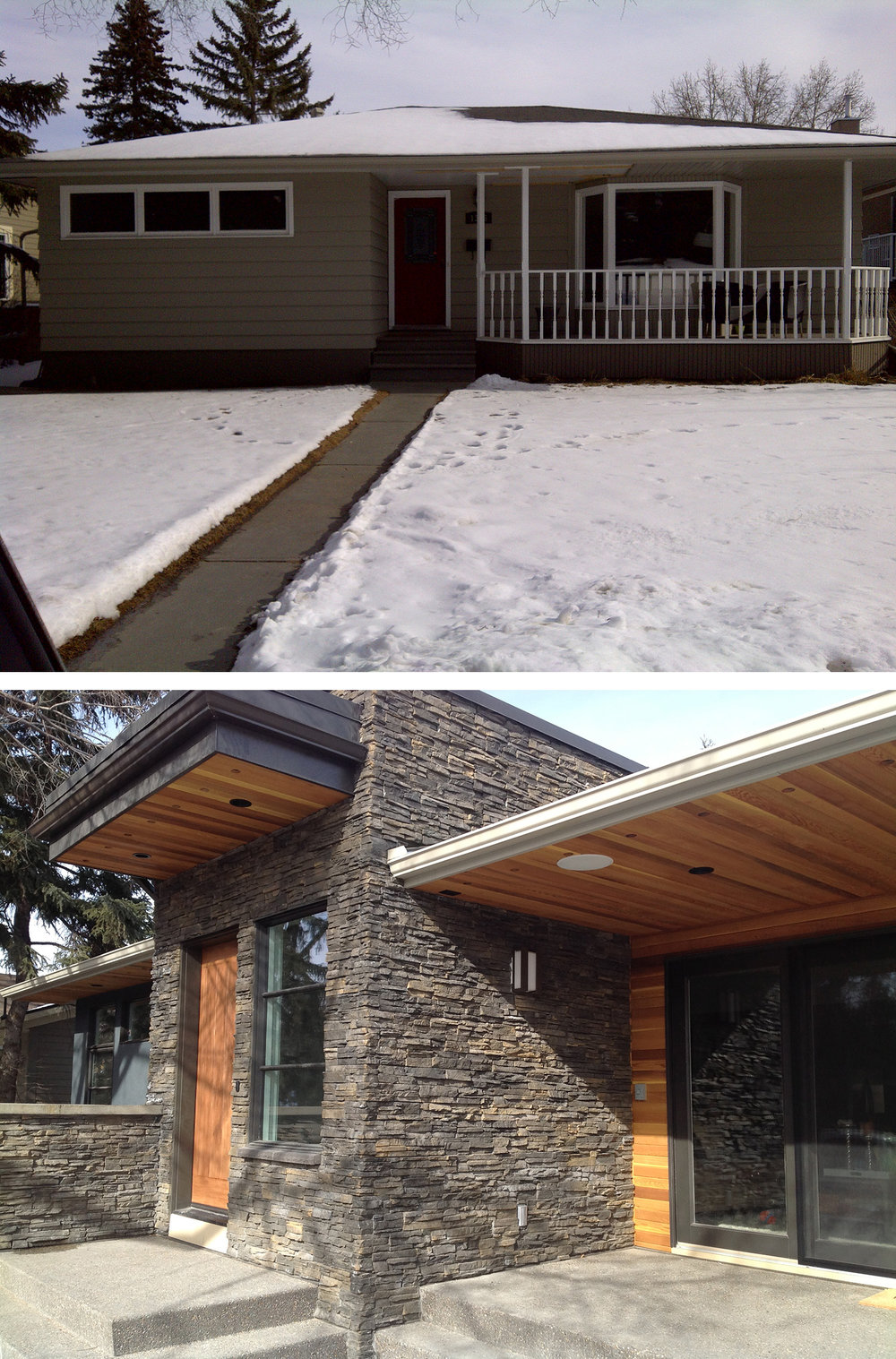 Before & After of a Home Addition in the Calgary community of St. Andrew's Heights