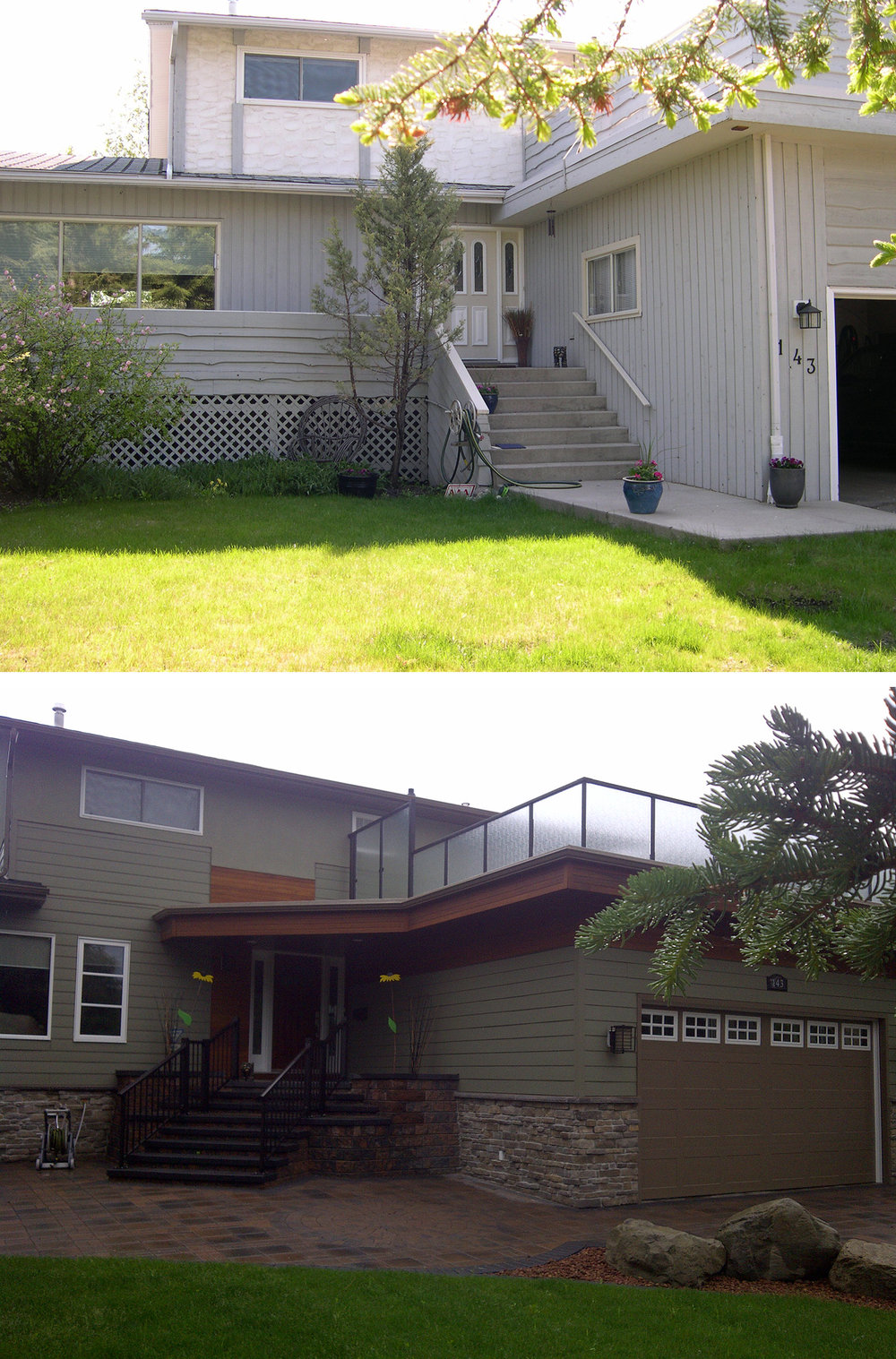 Before & After of an Exterior Renovation in the Calgary community of Varsity Acres