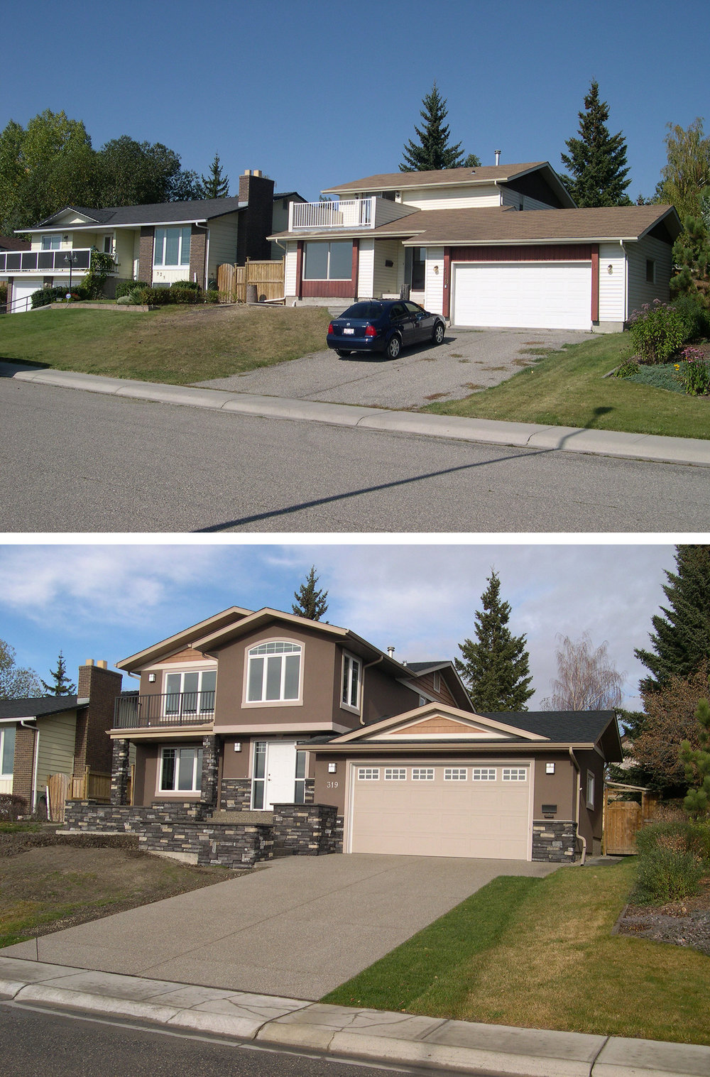 Before & After of a Home Addition in the Calgary community of Silver Springs