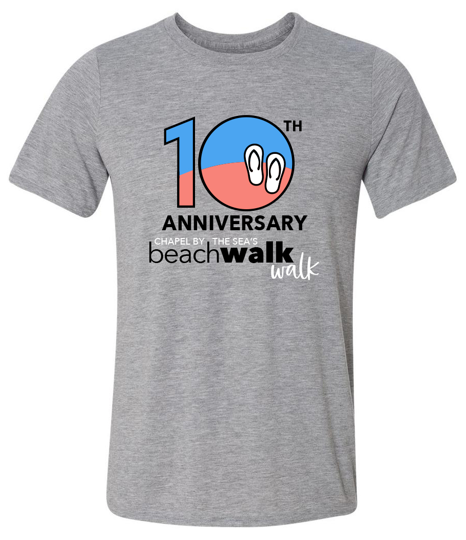 10th Anniversary T-shirt - Each Beachwalk/Walk participant will receive our special 10th Anniversary T-shirt!Register today!