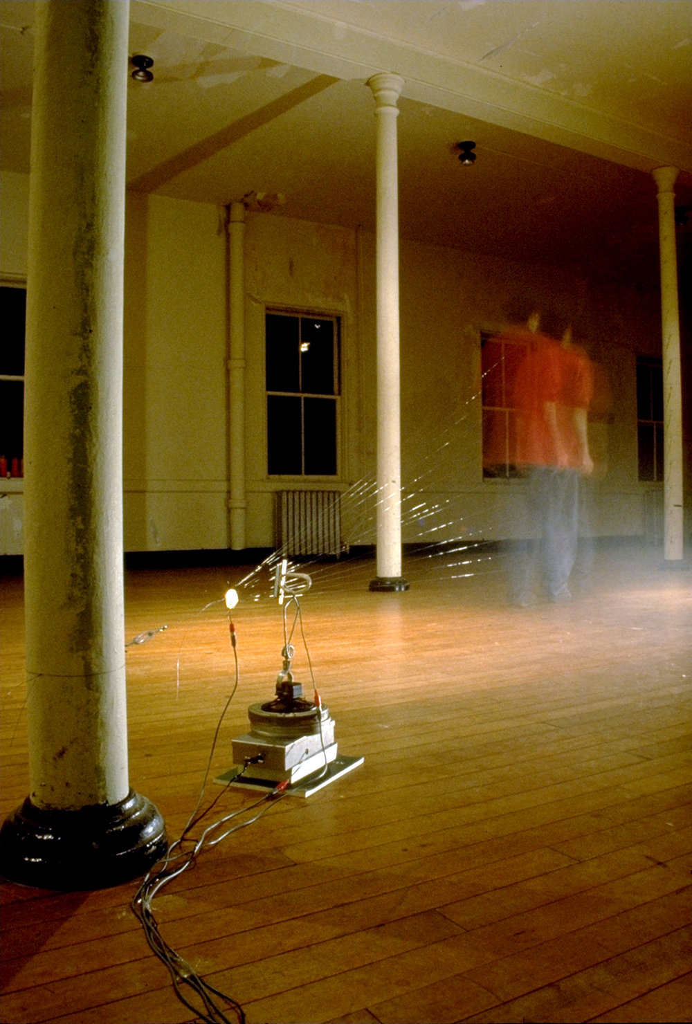 Installation view at the Headlands Center for the Arts, Sausalito, CA (July, 1995). Mixed media, custom electronics, sound (dimensions variable)