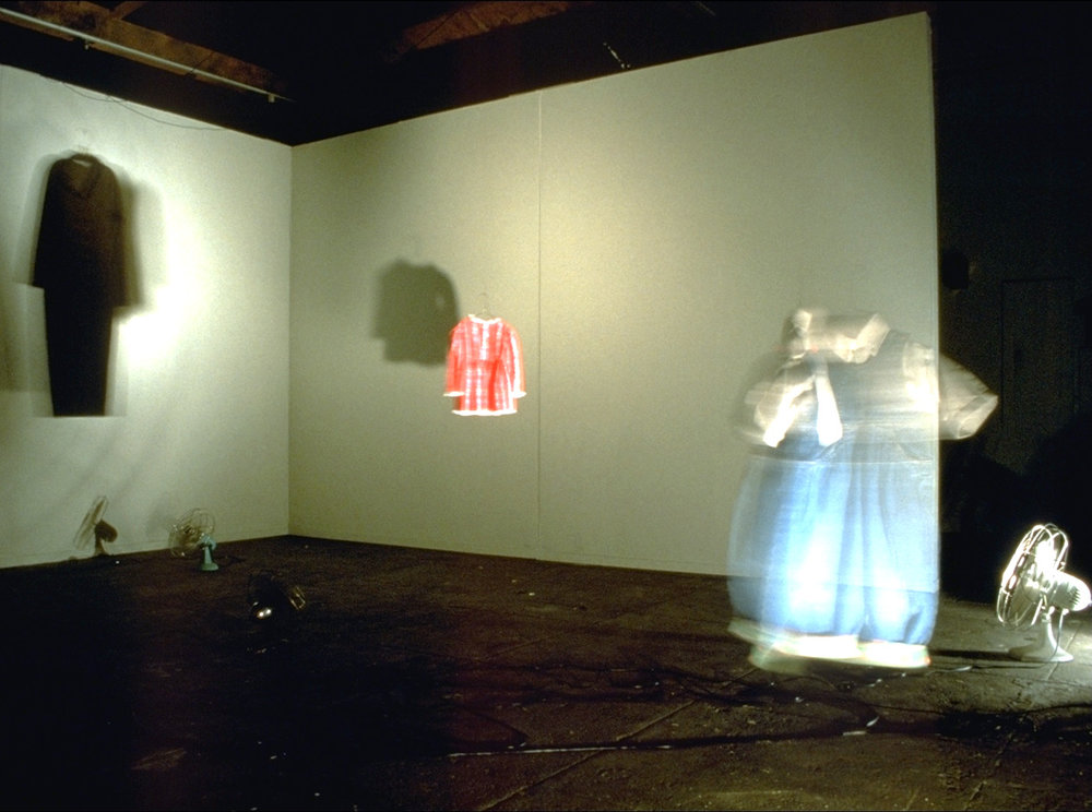 Installation view at the San Francisco Arts Commission Gallery, San Francisco, CA, July, 1995. Mixed media, custom electronics, sound (dimensions variable)