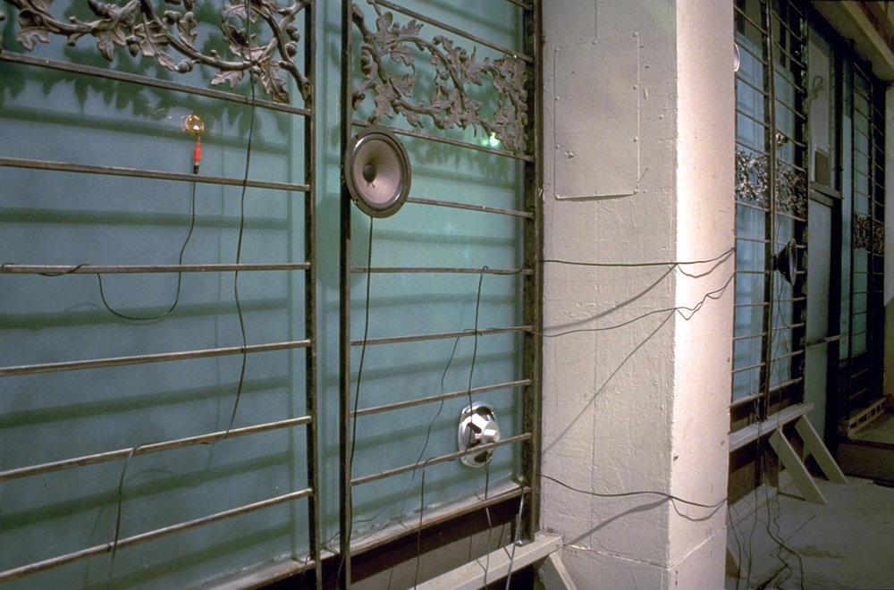Installation view at the Victoria Room, San Francisco, CA, January, 1995. Mixed media, custom electronics, sound (dimensions variable)