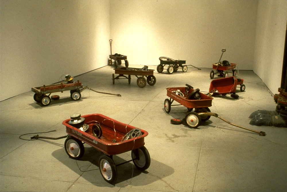 Installation views at Pro Arts Gallery, Oakland, CA (January, 1992). Mixed media, electronics, sound (dimensions variable)
