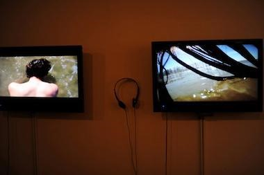 Ana Teresa Fernandez.  Untitled (Document of a Performance)  (hair piece), 2011 (video stills); video installation. Courtesy of the Artist and Galería de la Raza, San Francisco.