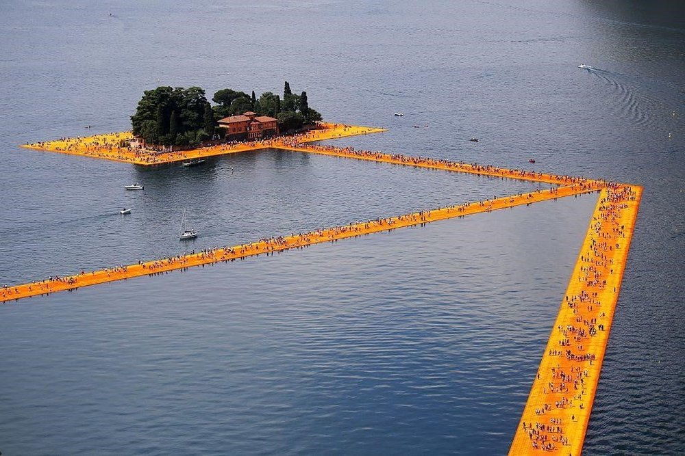 """""""The Floating Piers"""" created by artist Christo Vladimirov Javacheff on Iseo Lake.  Courtesy of Marco Bertorello/AFP/Getty Images."""