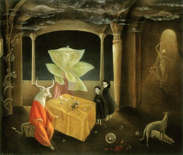 Leonora Carrington, And Then We Saw the Daughter of the Minotaur (1953) © Private collection © Leonora Carrington, VEGAP, Málaga, 2017. Image courtesy Museo Picasso Málaga, Spain