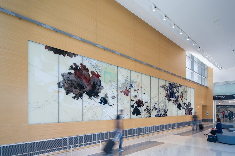 Val Britton: Voyage , installation view,commission for the San Francisco International Airport control Tower, CA, 2015, laminated glass panels, ceramic glass melting colors, graphite and lacquer paint, 9 ½ x 55 feet