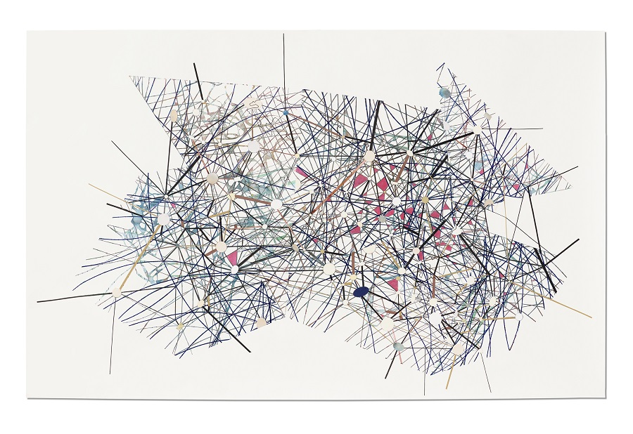Val Britton,  Mercator,  2017, Acrylic, ink, and collage on paper, 58 x 92 inches (147.3 x 233.7 cm)