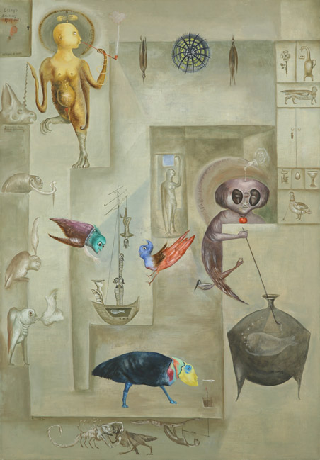 Leonora Carrington,  Sanctuary for Furies , 1974, Oil on canvas, 39 x 27 inches (69 x 99 cm), © 2019 Estate of Leonora Carrington / Artists Rights Society (ARS), New York
