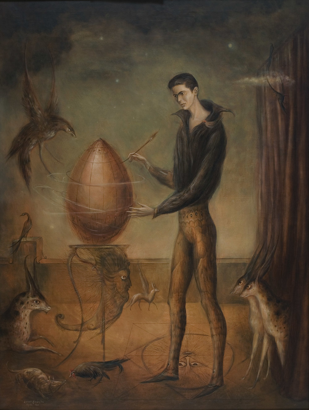Leonora Carrington,  Quería ser pájaro , 1960, Oil on canvas, 47 x 35.5 inches (119 x 90 cm), © 2019 Estate of Leonora Carrington / Artists Rights Society (ARS), New York