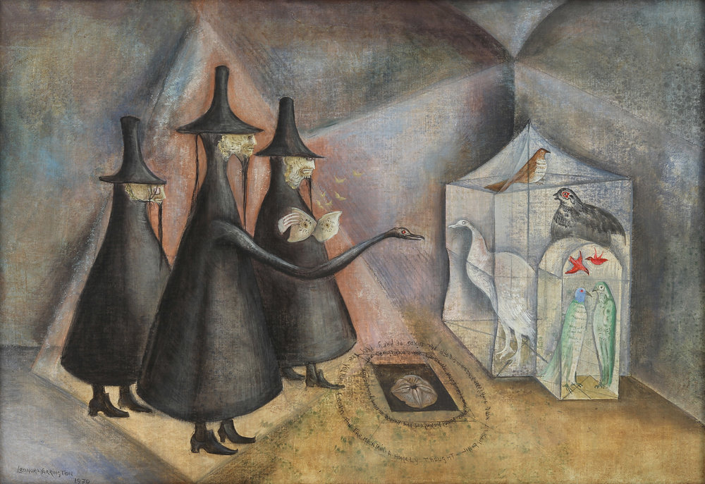 Leonora Carrington,  The Bird Men of Burnley , 1970, Oil on canvas, 17 1/2 x 26 inches (44.5 x 66 cm)