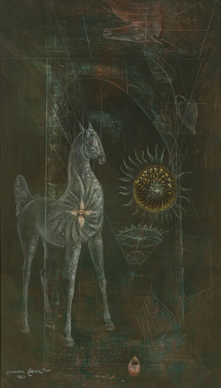 Leonora Carrington,  La Jaca , 1961, Oil and gouache on canvas, 20 x 12 inches (51 x 31 cm)