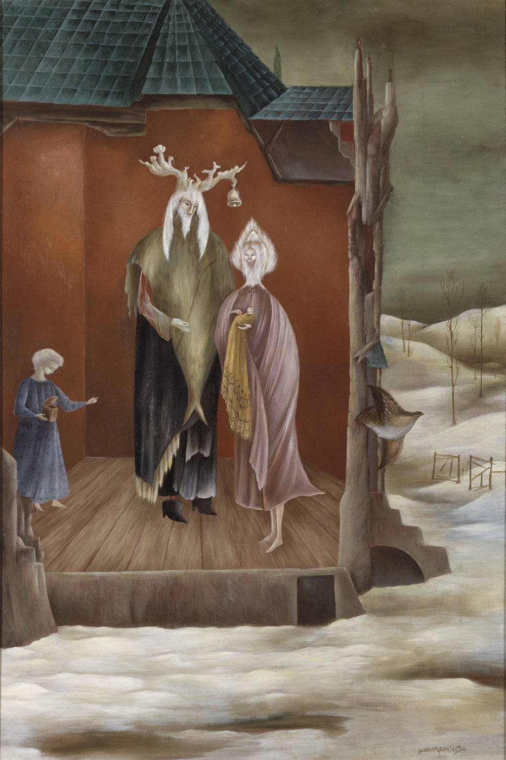 Leonora Carrington,  Le Bon Roi Dagobert , 1948, Oil on canvas, 35 3/8 x 23 5/8 inches (90 x 60 cm)