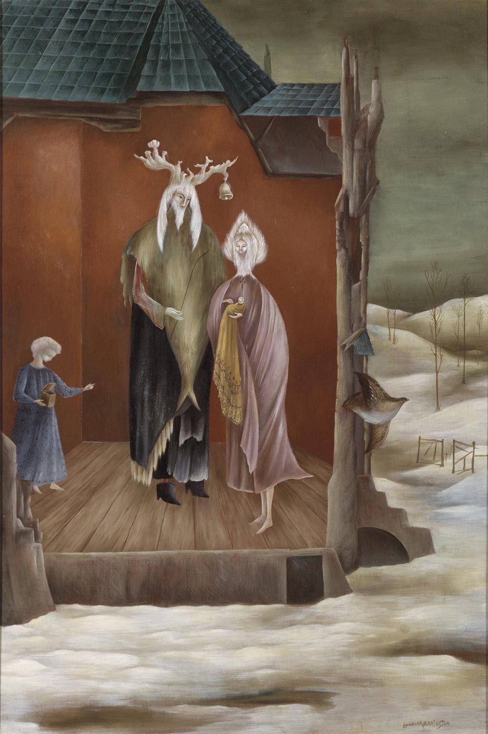 Leonora Carrington,  Le Bon Roi Dagobert , 1948, Oil on canvas, 35 3/8 x 23 5/8 inches (90 x 60 cm), © 2019 Estate of Leonora Carrington / Artists Rights Society (ARS), New York