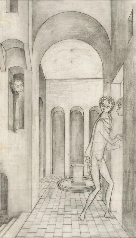 Remedios Varo,  El Encuentro (The Encounter) , 1959, Pencil on paper, 28 x 16 inches (71 x 41 cm)