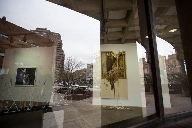 """Marium Agha's """"A Courtier in Love — A Two Dimensional Portrait"""" (2015), center, is displayed in the """"Archival Alchemy"""" group show at the Abrons Arts Center.  CreditMichael Nagle for The New York Times   ABRONS ARTS CENTER  This    gallery    at   the Henry Street Settlement has a long record of   nurturing socially conscious art, and sustains it with """"Archival Alchemy,"""" a group show assembled by Saisha Grayson for the 20th anniversary of the South Asian Women's Creative Collective. Much of what's here is, indeed, archival, in the sense of its recycling material from a near and distant past, as in Maya Mackrandilal's takeaway photo tributes to historic female activists; Zinnia Naqvi's real and re-enacted family pictures; and in the binders of the information compiled by Chitra Ganesh and Mariam Ghani on South Asian immigrants reported missing in the United States since Sept. 11. The collective energy here is strong, even when individual entries aren't easily readable. And one message prevails: The idea of post-identity art is not only undesirable, but it's also delusional."""