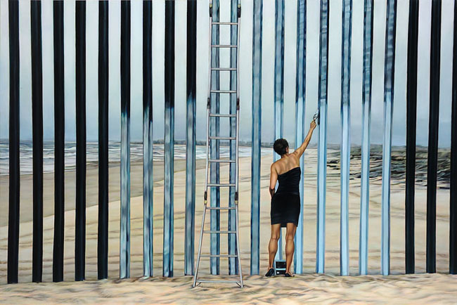 Ana Teresa Fernández,  Erasing the Border (Borrando la Frontera),  2013, Oil on canvas, 48 x 72 inches (122 x 183 cm)