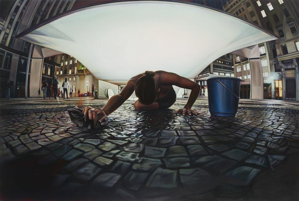 Ana Teresa Fernández,  Untitled (performance documentation in São Paulo Brazil in Plaza Patriarca),  2015, Oil on canvas, 56 x 84 inches (142.2 x 213.4 cm)