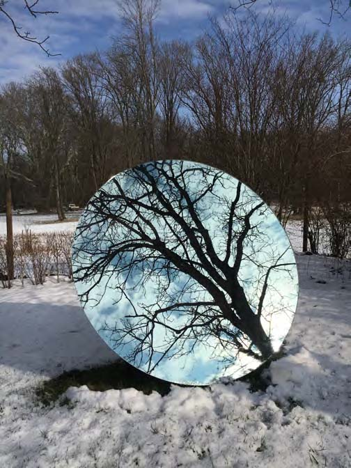 Eva Schlegel,  Single Circular Mirror,  inclination Angle 72°, diameter 94.5 inches (240cm)