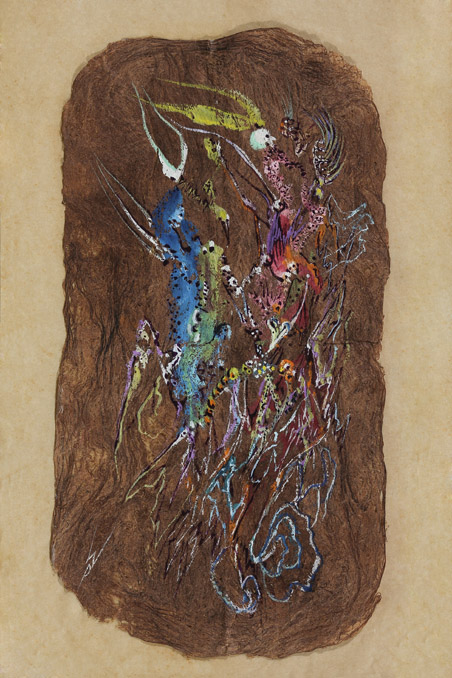 India ink and tempera on native leaf or bark, 10 x 5 inches (25.4 x 12.7)