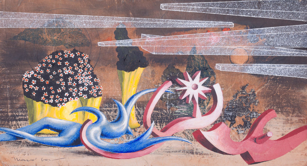 Marcel Jean,  Jeux stellaires , 1975, gouache and flottage on masonite, 7 x 12 3/4 inches (17.8 x 32.4 cm)