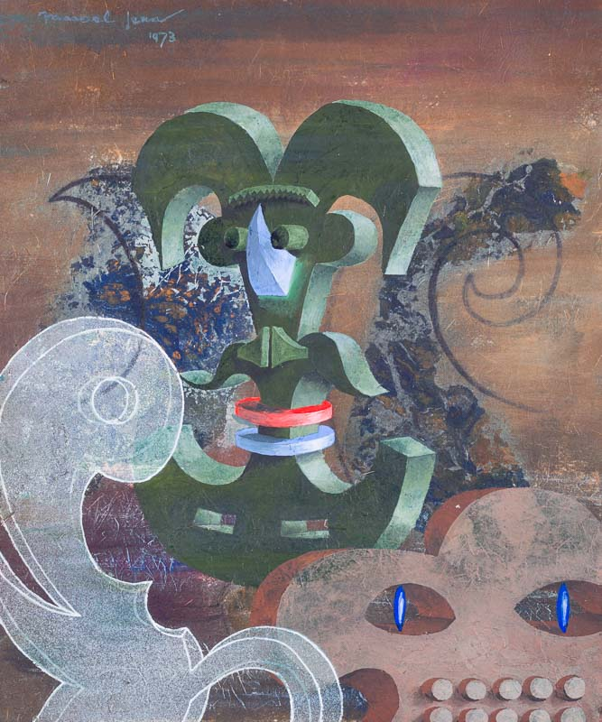 Marcel Jean,  Ludions,  1973, gouache and flottage on masonite, 10 1/4 x 8 1/2 inches (26 x 21.6 cm)