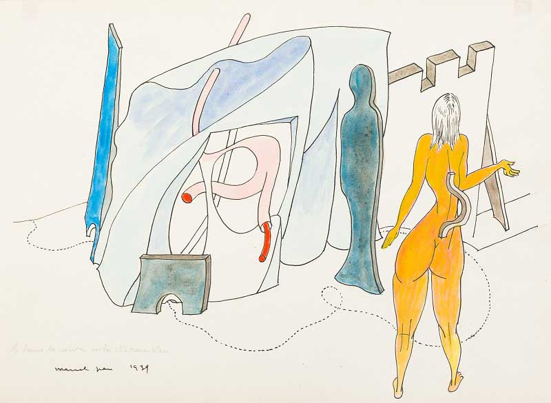 Marcel Jean,  La dame de cuisine en le château bleu,  1939, India ink, graphite, and gouache on paper, 8 3/8 x 11 1/2 inches (22.3 x 29.2 cm)