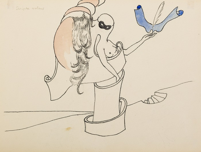 Marcel Jean,  Scripta volens,  c.1939, India ink, graphite, and gouache on paper, 6 1/2 x 8 3/4 inches (16.5 x 22.2 cm)