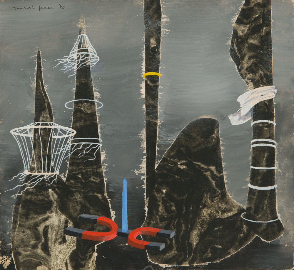 Marcel Jean  Sonde Magnetique,  1970, gouache and flottage on masonite board, 9 9/16 x 10 5/8 inches (24.4 x 27 cm)