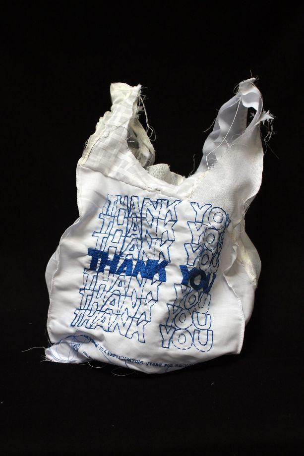 "Image: Lauren DiCioccio's embroidered and quilted 2011 work ""Thank You Bag."" Photo: Courtesy Of Recology  San Franciso. Photo: Courtesy Of Recology San Franciso"