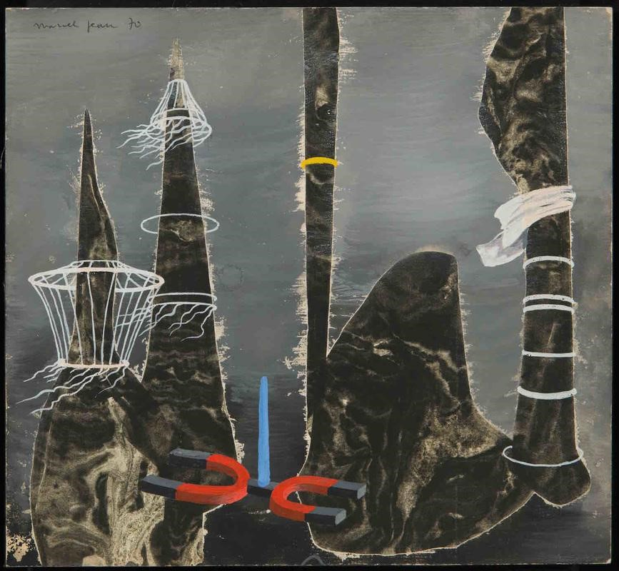 "Marcel Jean, ""Sonde Magnétique,"" 1970. Gouache (flottage) on masonite board 9 9/16 x 10 5/8 inches (24.4 x 27 cm)"