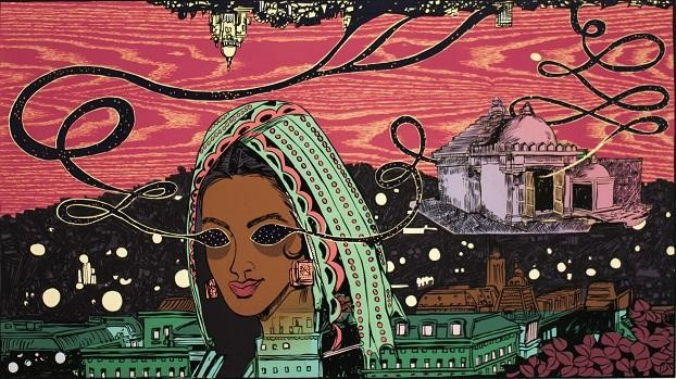 City Inside Her , by Chitra Ganesh. woodblock and screenprint (2014)